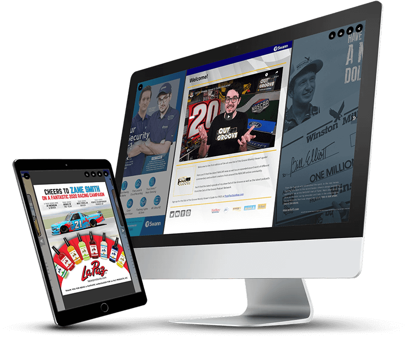 digital sports magazine on a computer and iPad