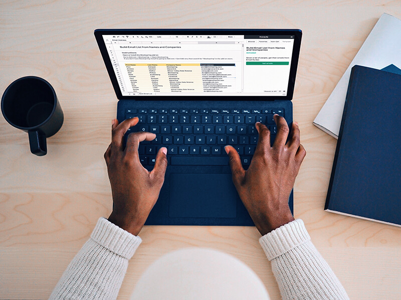 managing an email list on a laptop