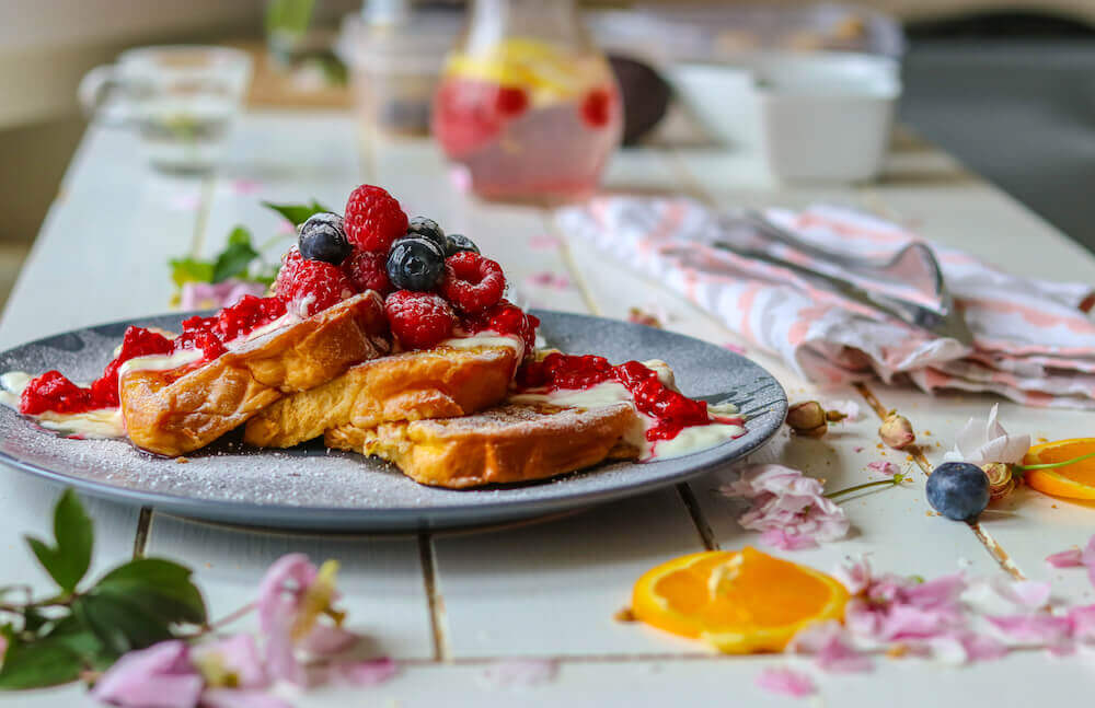 delicious french toast with berries