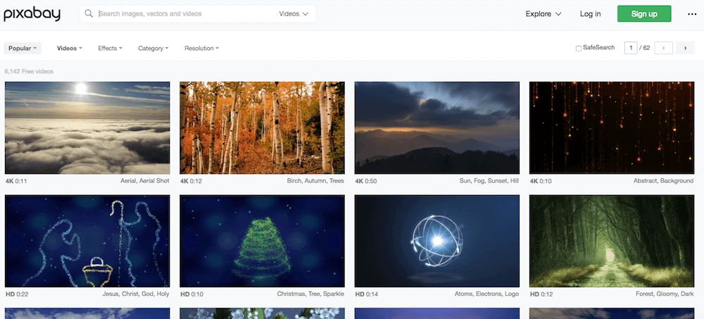 Screenshot of Pixabay Homepage