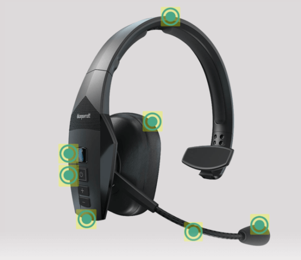 headset with clickable features