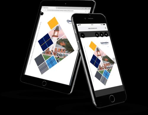 Quinnipiac University's digital brochure on mobile devices