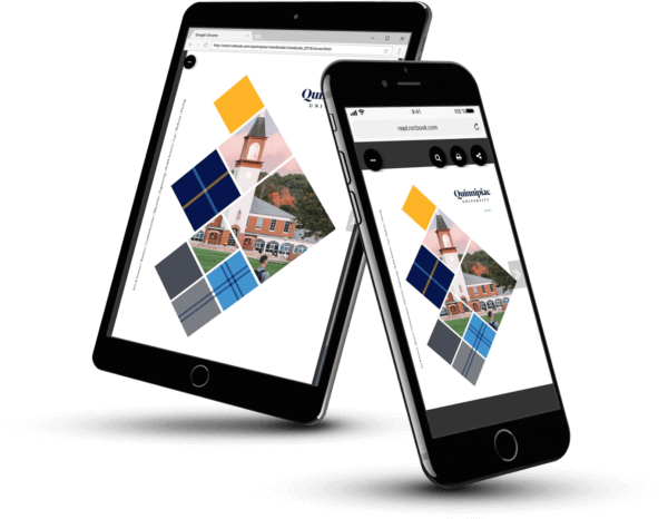 Quinnipiac University's digital brochure on mobile devices