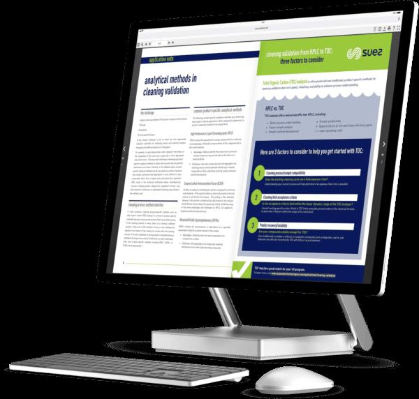 Suez digital report on a desktop computer